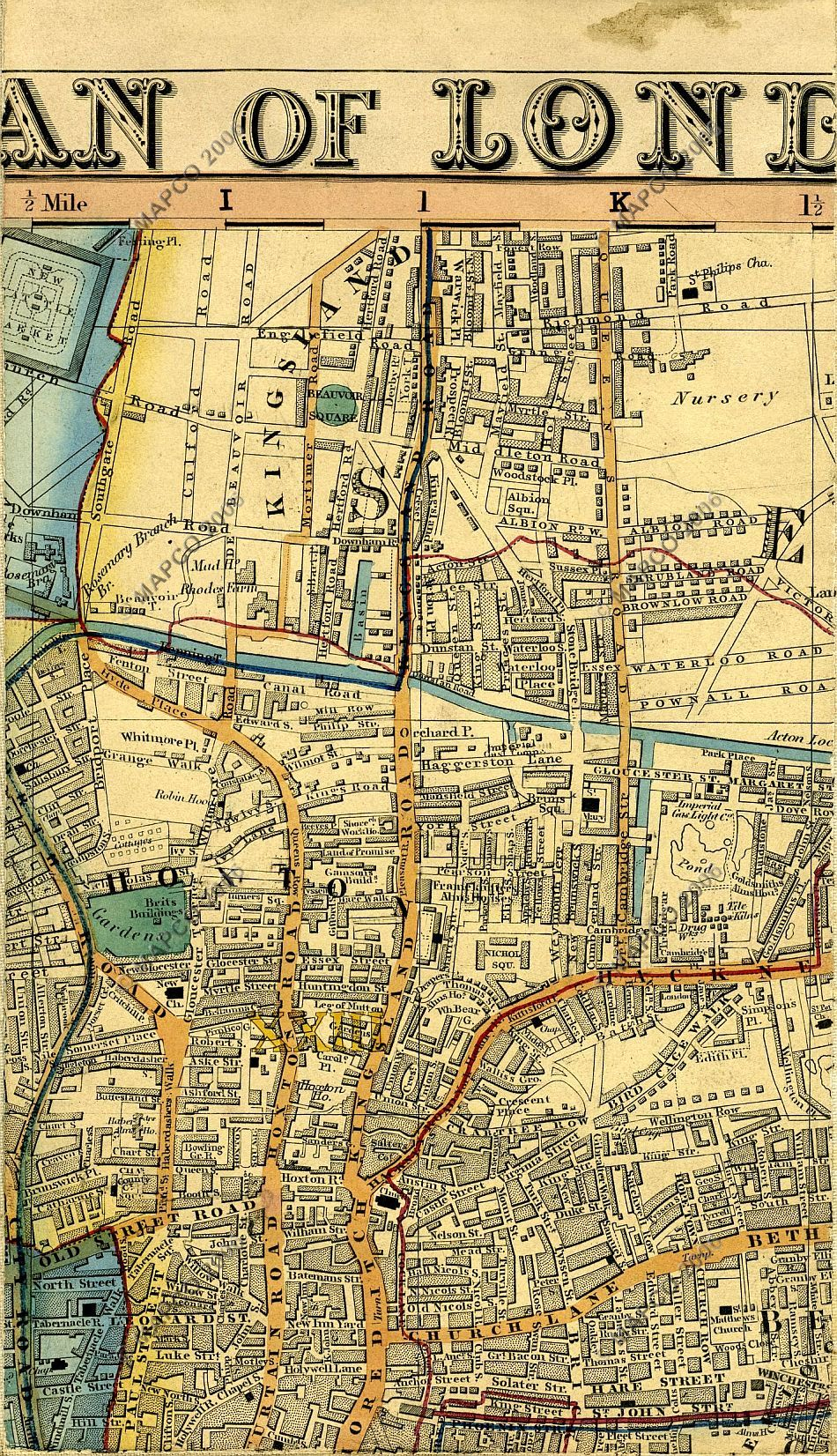 Map Of London 1850 - Cross's New Plan Of London 1850