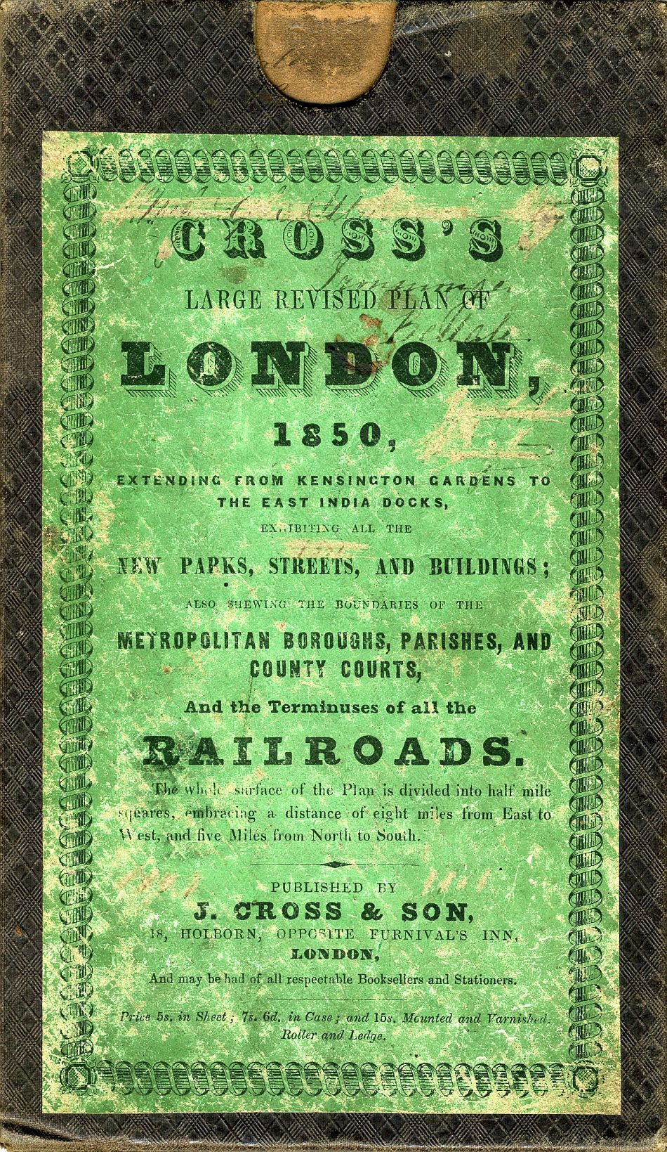 Slipcase Of Cross's New Plan Of London 1850